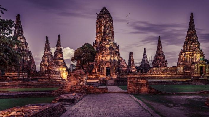 Ayutthaya at night time