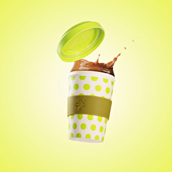 Light Green Coffee Cup Splash Product Photography