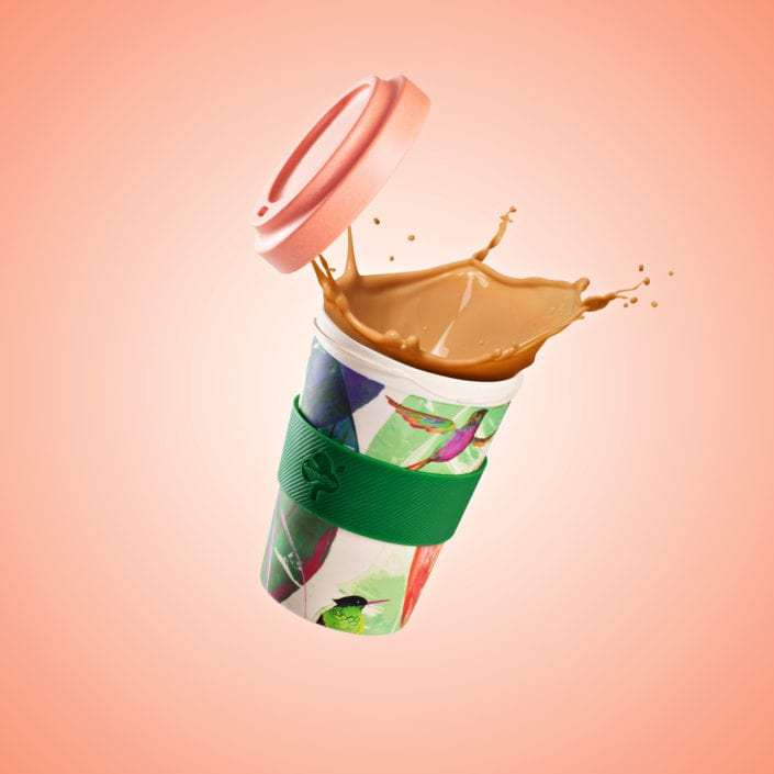 Green Coffee Cup Splash Product Photography