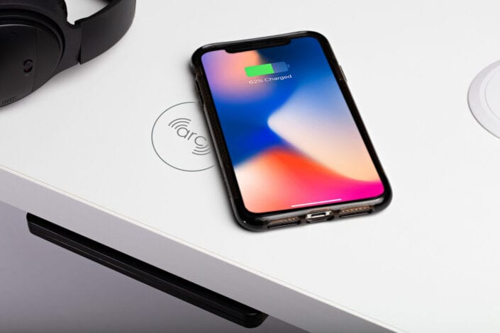 iPhone charging on Qi Charger