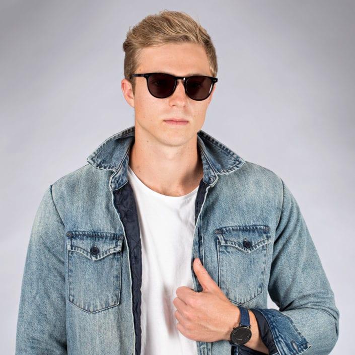 Male model wearing sunglasses