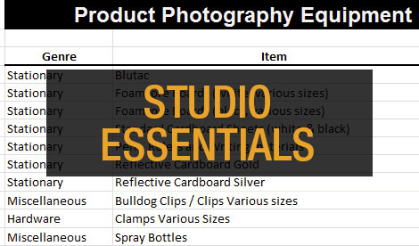 28 Essential Items for your Product Photography Studio
