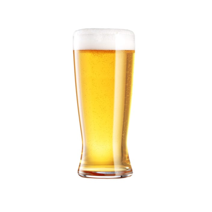 Lager Beer Glass on White Background
